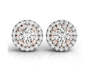 Halo Style Diamond Earrings in 14K White and Rose Gold (3/4 ct. tw.)