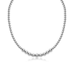 Graduated Style Bead Necklace in Rhodium Plated Sterling Silver