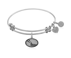 Expandable White Tone Brass Bangle with Singer Symbol