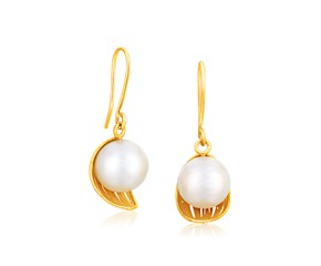 Cultured Pearl Cup Filament Earrings in 14K Yellow Gold
