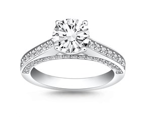 Pave Diamond Cathedral Engagement Ring Mounting in 14K White Gold