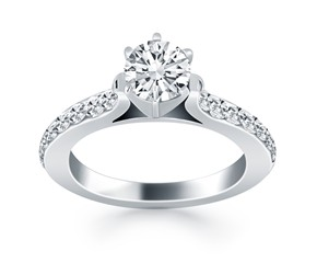 Curved Shank Engagement Ring Mounting with Pave Diamonds in 14K White Gold