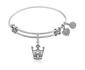 Expandable White Tone Brass Bangle with Glinda Crown Symbol