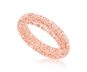 Fancy Tube Motif Mesh Wire Ring in 14K Rose Gold