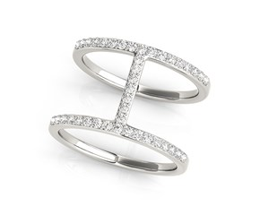 Thin Dual Band Diamond Ring in 14K White Gold (3/8 ct. tw.)