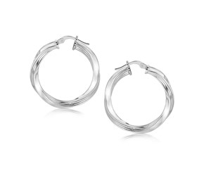 Polished Twist Hoop Earrings in Sterling Silver