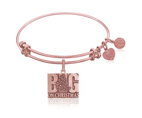 Expandable Pink Tone Brass Bangle with Big On Christmas Symbol