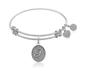 Expandable White Tone Brass Bangle with Initial P Symbol