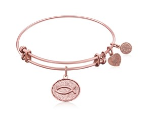 Expandable Pink Tone Brass Bangle with Christian Fish Ichthys Symbol